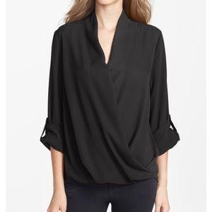 🆕 NWOT Pleione faux wrap black blouse, size XS